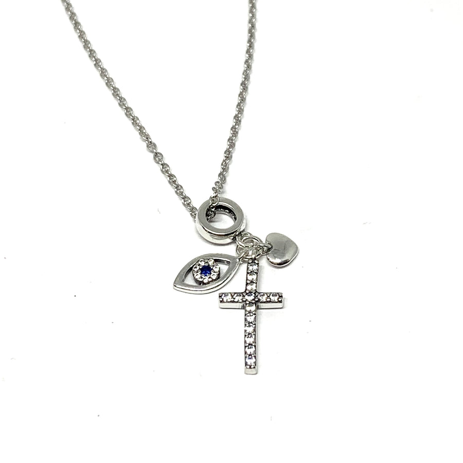 STERLING SILVER EVIL EYE, CROSS & HEART NECKLACE