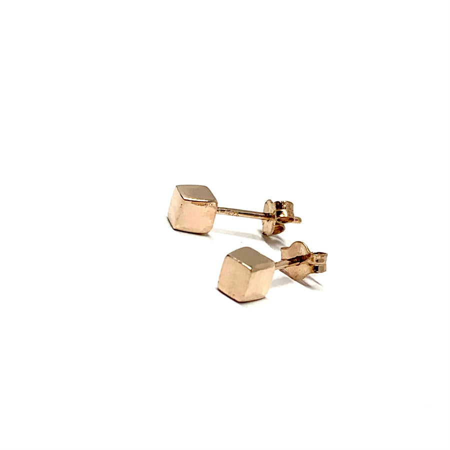 4.5MM ROSE GOLD OVER STERLING SILVER CUBE EARRINGS