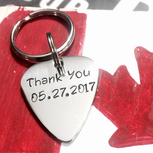 Custom Hand Stamped Guitar Pick Key-chain
