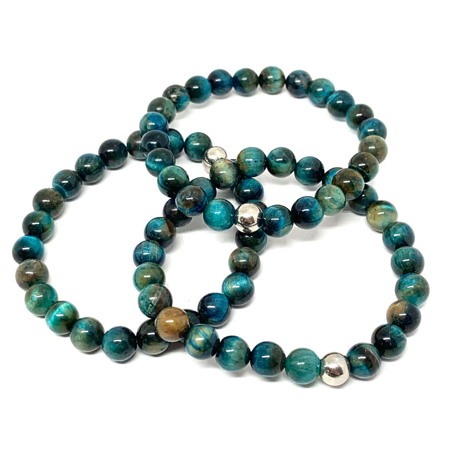 "THE BLUE TIGER EYE ""BALANCE"" MALA BRACELET"