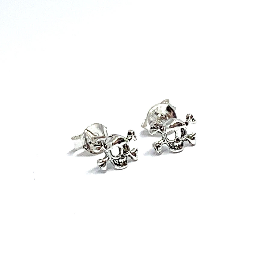 STERLING SILVER SKULL & BONES EARRINGS