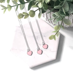 "THE ""FOREVER"" PINK HEART STERLING SILVER NECKLACE"