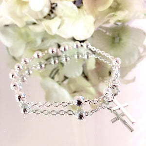 STERLING SILVER ROSARY BEAD BRACELET WITH CROSS