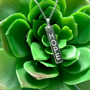 "STERLING SILVER ""HOPE"" BAR NECKLACE"