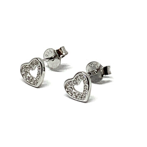 STERLING SILVER SPARKLE HEART EARRINGS