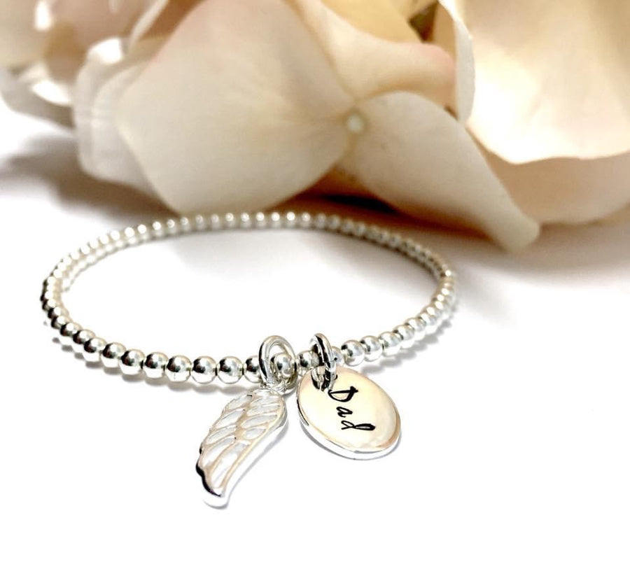 Custom Hand Stamped Angel Wing Stretch Bracelet