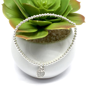 "THE ""GRATITUDE"" STERLING SILVER BRACELET WITH SILVER APPLE CHARM"