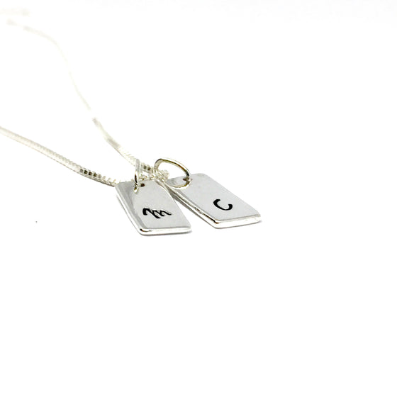 Sterling Silver Mini Tag Necklace - Custom Stamped $40