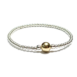 STERLING SILVER W/GOLD FILLED BEAD BRACELET