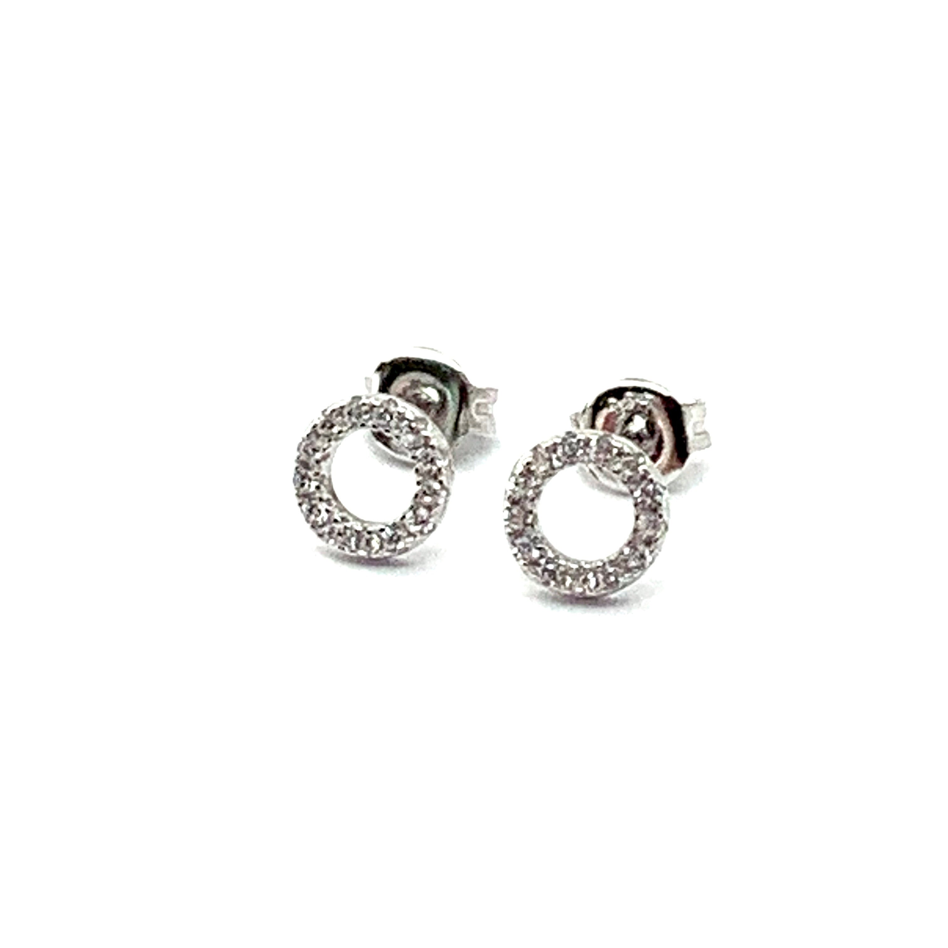 STERLING SILVER & CUBIC CIRCLE EARRINGS