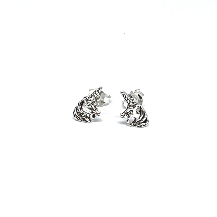 STERLING SILVER UNICORN HEAD EARRINGS