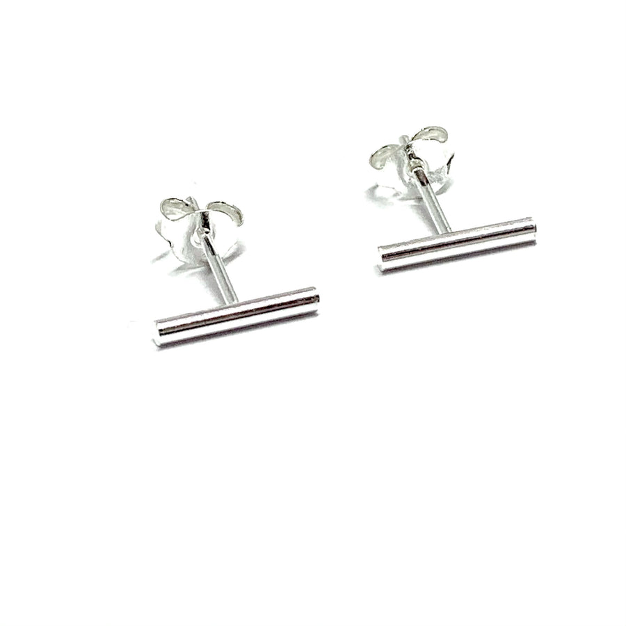 STERLING SILVER ROUND BAR EARRINGS