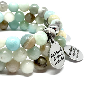 "THE AMAZONITE ""SHE BELIEVED SHE COULD"" MALA BRACELET"