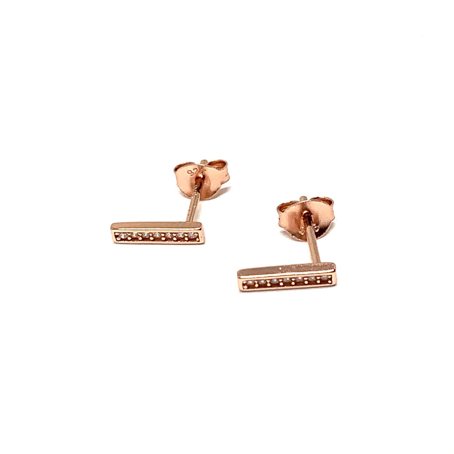 ROSE GOLD & CUBIC 4 SIDED BAR STUD EARRINGS