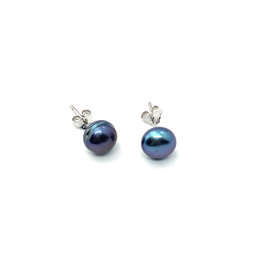 7mm STERLING SILVER PEACOCK PEARL EARRINGS