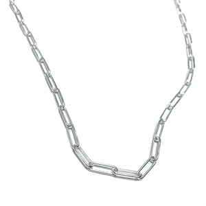 STERLING SILVER 4mm PAPER CLIP NECKLACE