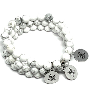 "THE ""BEST MOM"" HOWLITE MALA BRACELET"