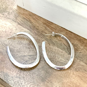 Large Sterling Silver Hollow Hoop Earrings