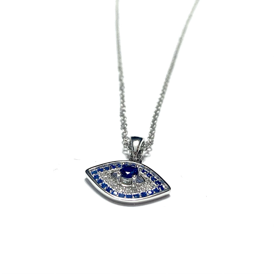 Sterling Silver & Cubic Seeing Evil Eye Necklace