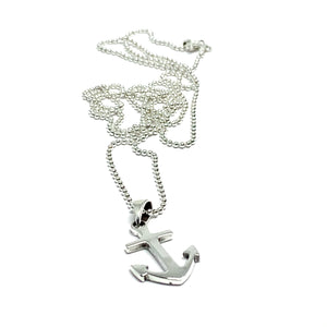 SOLID STERLING SILVER ANCHOR NECKLACE