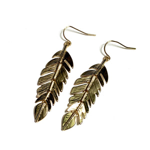 GOLD COLOUR FEATHER EARRINGS