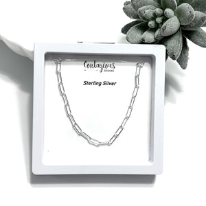 STERLING SILVER 3.5mm PAPER CLIP NECKLACE