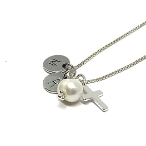THE MARY CUSTOM INITIAL PEARL CROSS NECKLACE