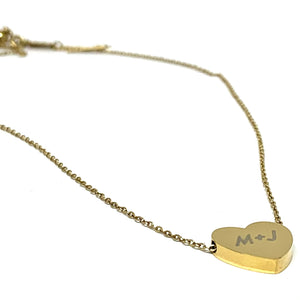 ENGRAVED 18K GOLD OVER STAINLESS STEEL HEART NECKLACE