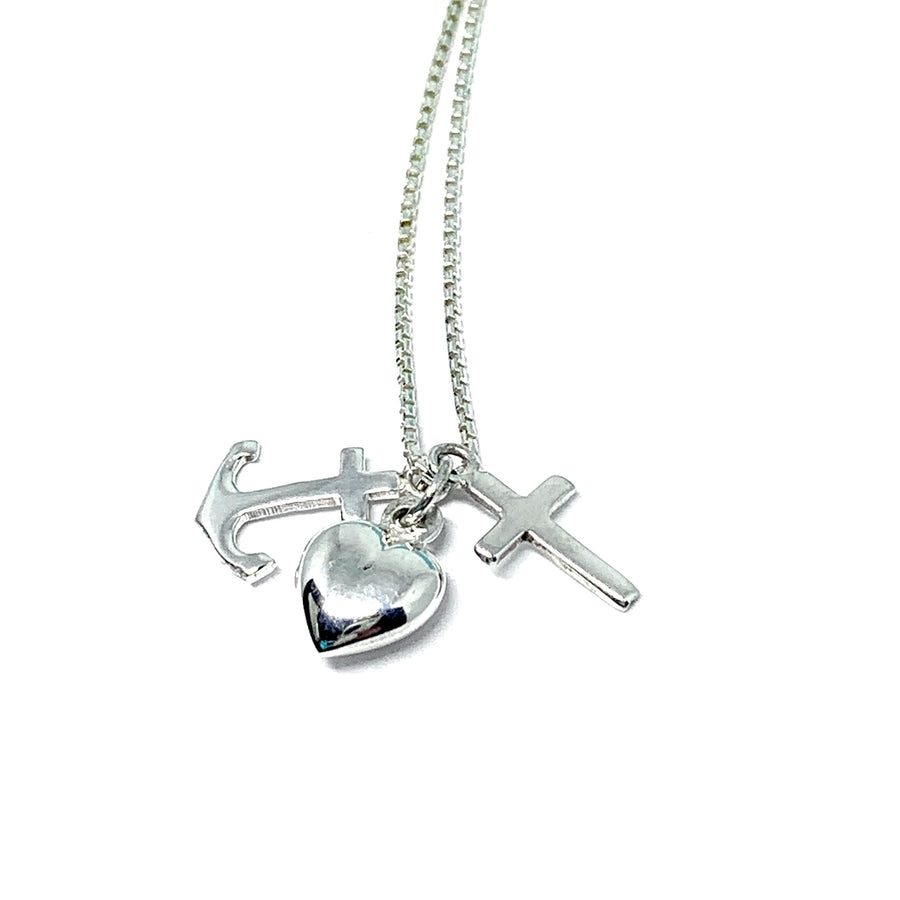 STERLING SILVER MINI CHARM (CROSS, HEART & ANCHOR) NECKLACE