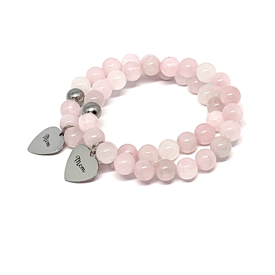 ROSE QUARTZ - MOM CHARM BRACELET