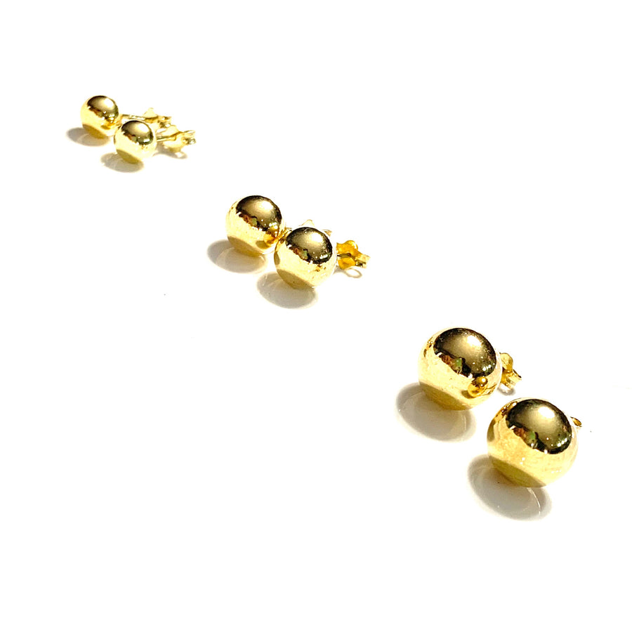 8MM GOLD OVER STERLING SILVER SMOOTH ROUND STUD EARRINGS