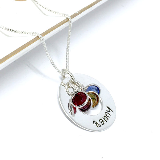 Customized Sterling Silver Donut (Large 25mm) Necklace w/Optional Swarovski Birthstones