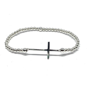 Sterling Silver 3mm Stretchy Ball Cross Bracelet