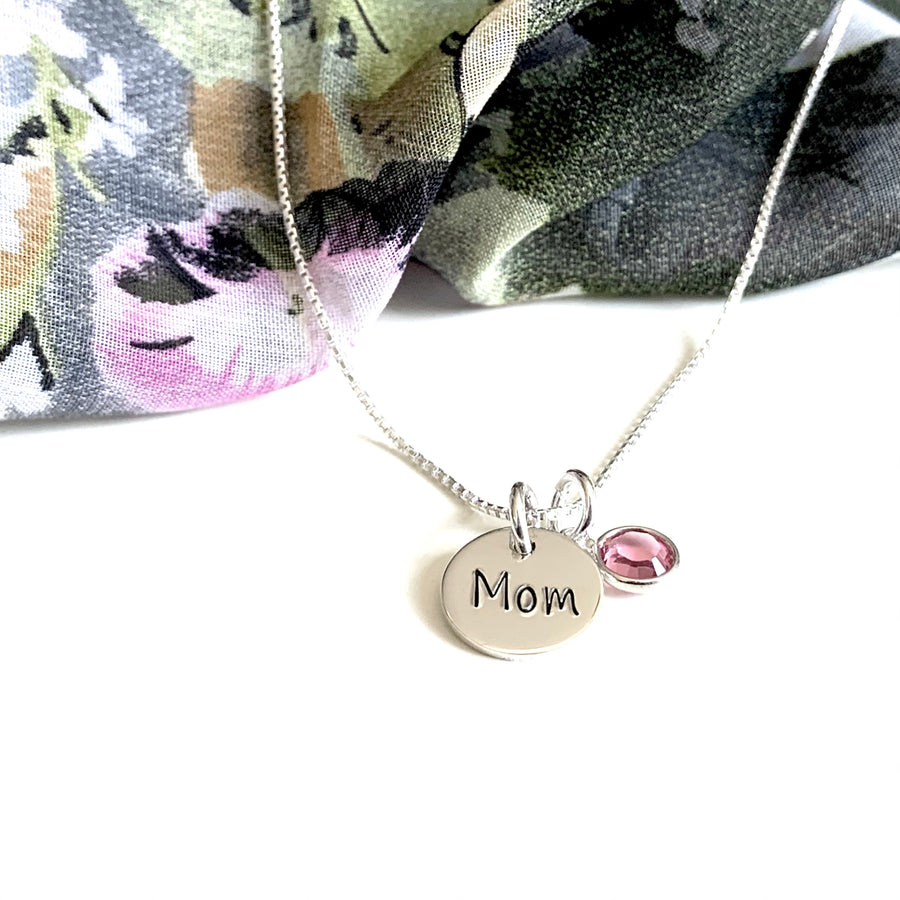 Custom Stamped 3 Letter Birthstone Mom Necklace