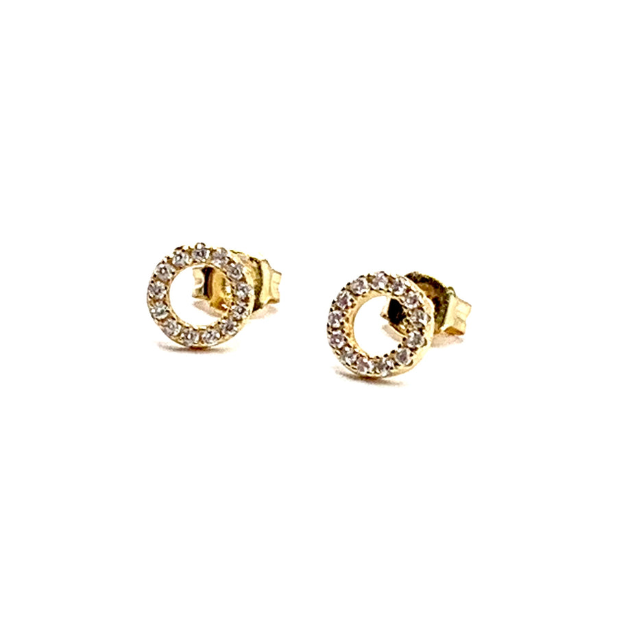 GOLD OVER STERLING SILVER & CUBIC CIRCLE EARRINGS