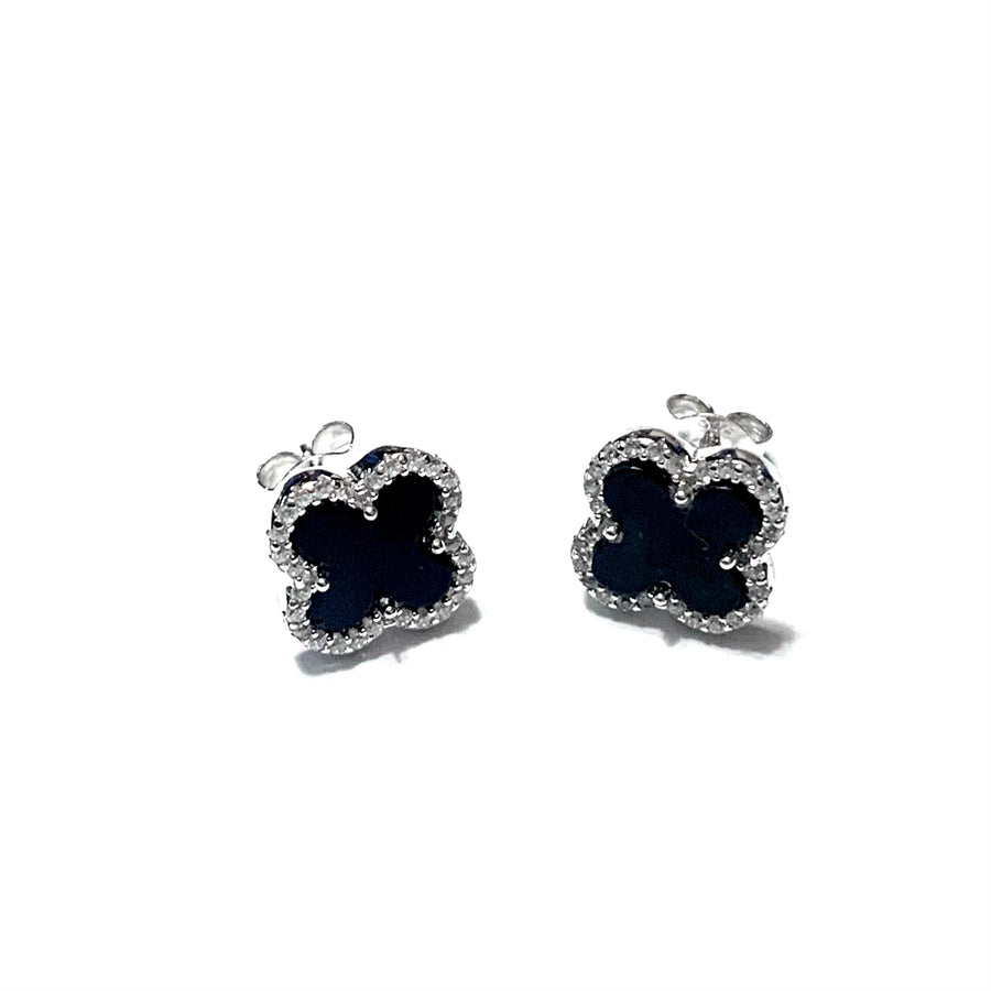 STERLING SILVER BLACK CLOVER STUD EARRINGS