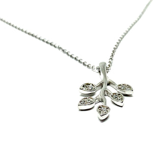 STERLING SILVER & CUBIC ZIRCONIA OLIVE BRANCH NECKLACE
