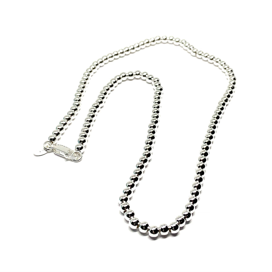 STERLING SILVER 4MM BALL NECKLACE