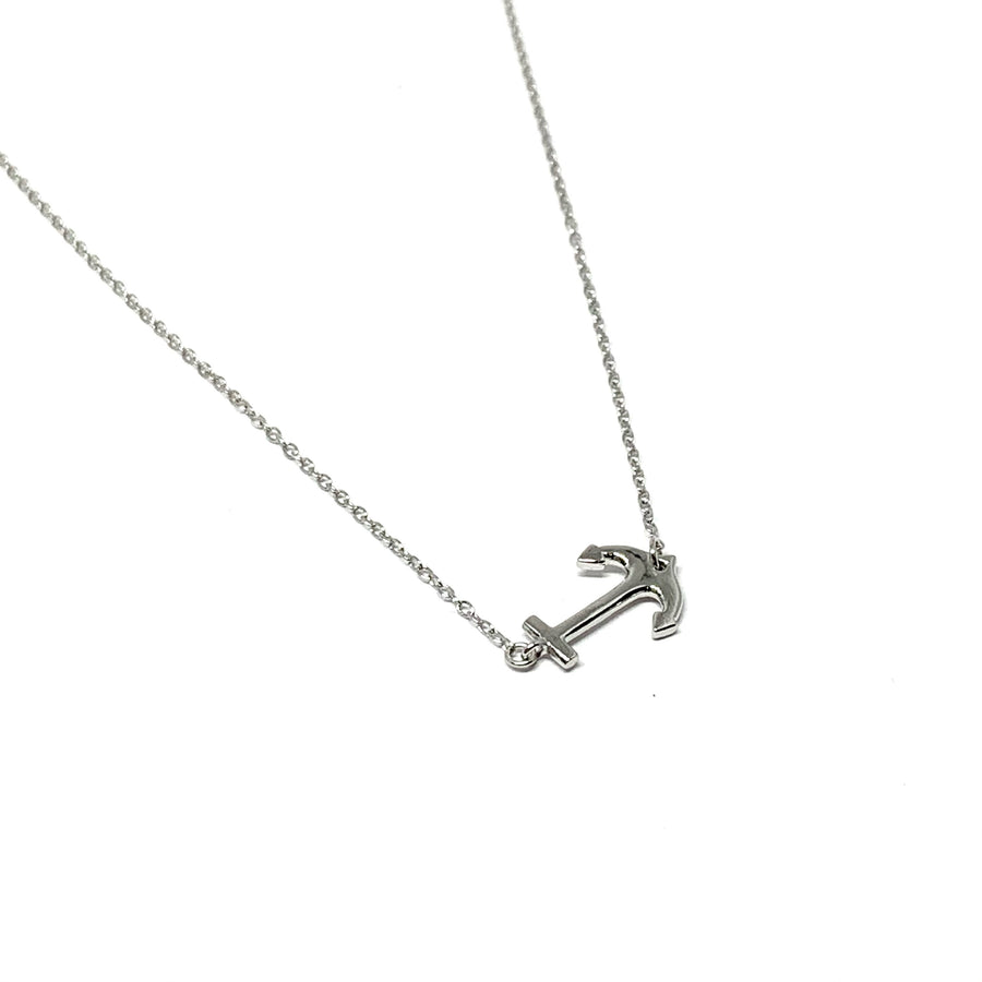 Sterling Silver Anchor Necklace (Side Anchor)
