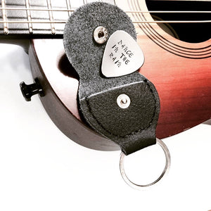 Custom Hand Stamped Guitar Pick w/ Key Chain Case
