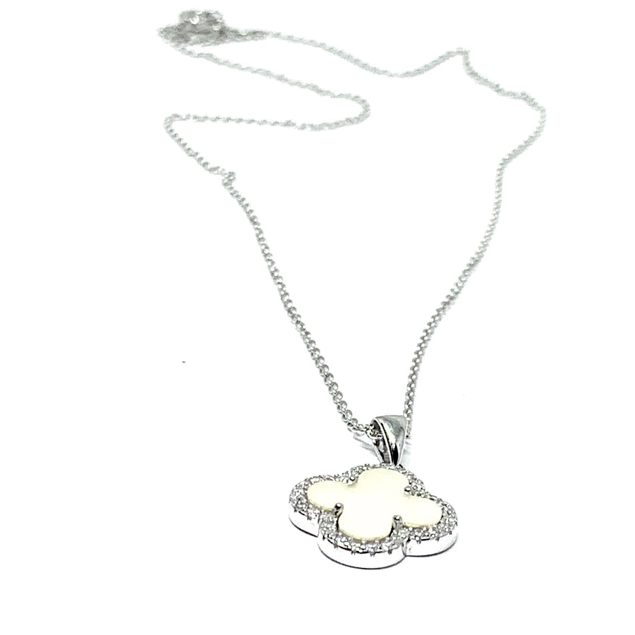 CLOVER & PEARL STERLING SILVER NECKLACE