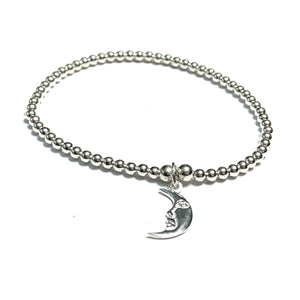 STERLING SILVER CRESCENT MOON BRACELET
