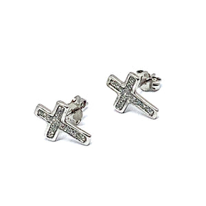 STERLING SILVER STARDUST CROSS EARRINGS