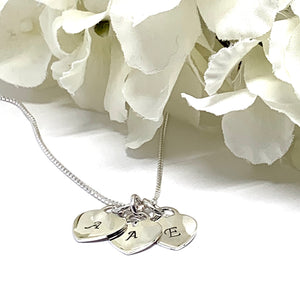 Sterling Silver Hand Stamped Heart Charm Necklace