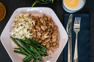 Ground Chicken Breast with Green Beans and Wild Rice