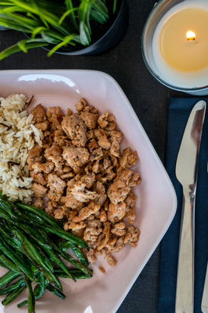 Ground Turkey with Green Vegetables and Brown Rice