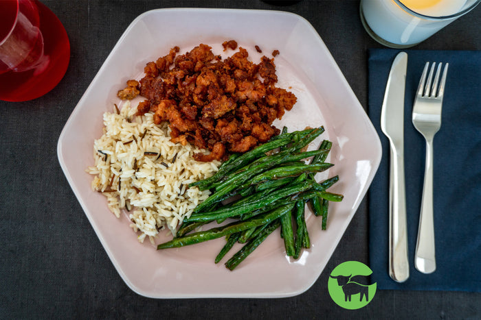 Beyond Meat Ground with Green Beans and Wild Rice