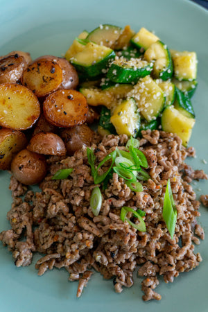 Greek Ground Pork with Zucchini and Baby Potato