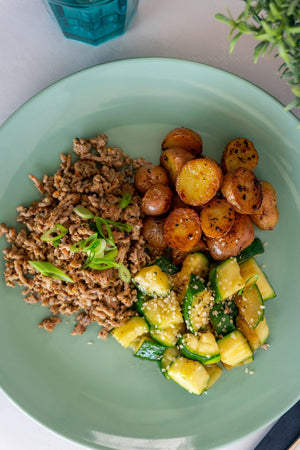 Greek Ground Pork, Hemp Zucchini and Baby Potato