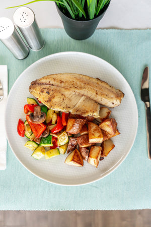 Tilapia with Seasonal Veg and Red Potato
